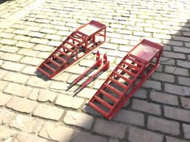 Car ramps DIY Mechanic with two 2 ton jacks double lift.