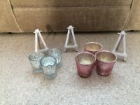 24 silver tea light holders and easel wedding table number holders in silver