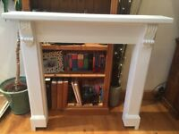 White mantle piece - solid wood - comes with fixings