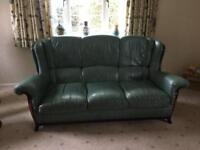 Land of Leather - 3Piece Green Leather suite