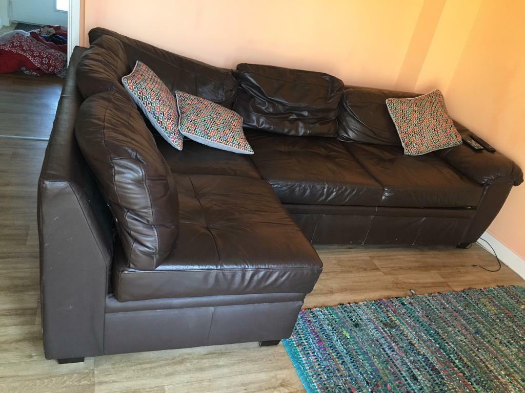 Free - Brown leather sofa (and sofa bed and storage ...