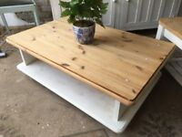 Stripped Pine Coffee table Stand tv Unit Chunky Vintage Pine