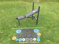 80 KG CAST IRON WEIGHT TRAINING SET BARBELL DUMBELLS BENCH