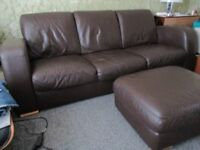 Large brown leather 3 seater sofa, chair & footstool