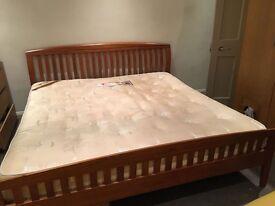 Teak wood super king size bed frame + free mattress