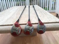 Ben hogan persimmon woods golf clubs 1, 3 & 5 wood. Very good condition