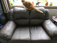 2 x 2 seater brown leather sofas