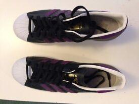 Adidas Superstar 80's Men's Size 10, Rare Black / Purple Edition NEVER WORN !!!