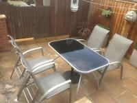 Patio table & 4 multi position chairs