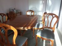 Dining table (extendable), 6 chairs and 2 sideboards