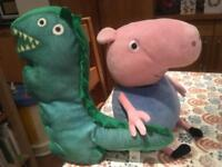 Large size Plush George and Dinosaur from Peppa Pig