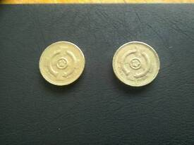 Collectable 1996 and 2001 Northern Ireland Celtic Cross £1 British Coins