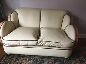 1930's Art Deco Cloud Suite Epstein Style Reupholstered Cream and Aubergine