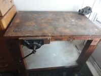 Vintage Wooden Carpenters Bench with Working Vice Clamps