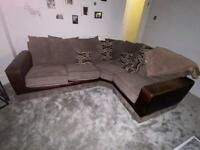Sofa, Scattered Cushions & Matching Pouffe