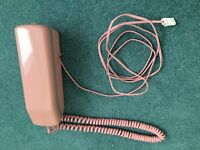 PINK with grey buttons old style, corded landline telephone - very good condition, £3 only