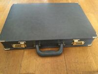 Grey briefcase with gold corners. Excellent condition. Vintage luxury.