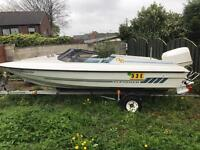Fletcher arrow speedboat 16 ft GTO120 hp omc outboard project