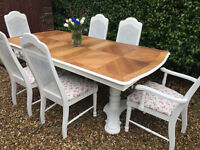 Stunning Shabby Chic Painted French Bergere Extending Dining Table & 6 Chairs