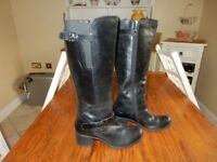 Ladies Hotter Size 6 Black Leather Boots