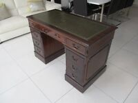 REPRODUCTION GREEN LEATHER TOP INLAID MAHOGANY TWIN PEDESTAL DESK