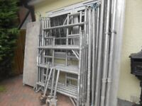 ALUMINUM SCAFFOLD TOWER DOUBLE WIDTH 2 METRES LONG X 6 METRES. 500 M WORKING HEIGHT