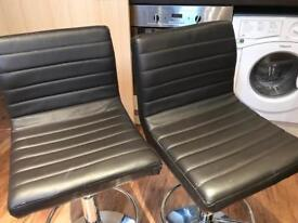 Used brown leather bar stools x2