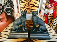 NEW PAIR OF LEOPARD CHEETAH RESIN BOOKEND ORNAMENTS