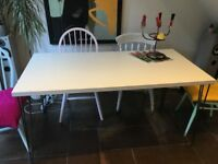 DINING TABLE – 75x150cm – WHITE TOP WITH METAL HAIRPIN LEGS – must go this weekend