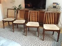 Set of 4 high back mid century dining chairs