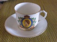 Queen Elizabeth II coronation cup,saucer and side plate + 1953 crown coin