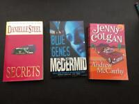 3 books -Danielle steel Secrets, val McDermid Blue Genes, Jenny Colgan looking for Andrew MCCarthy