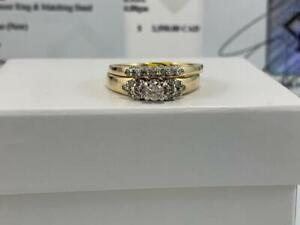 #251 14K YELLOW & WHITE GOLD LADIES DIAMOND WEDDING SET *SIZE 7 1/2* APPRAISED AT $2550 SELLING FOR ONLY $850!