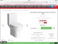 From Victorian Plumbing an Orion modern short projection toilet with soft close seat