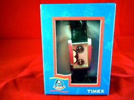 """TIMEX DISNEY MICKEY MOUSE WORLD DUAL TIME ZONE """"HERE THERE"""" WATCH"""