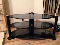 TV Stand 3 Tier Glass Black