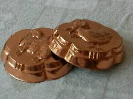 Pair Copper Plate Pate Moulds