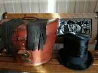 VINTAGE (ANTIQUE?) LEATHER HAT BOX WITH SILK TOP HAT AND KID GLOVES