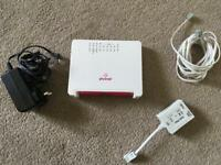 Plusnet modem router, power connector, ADSL filter and Ethernet cable