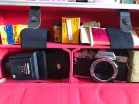 Olympus cameras x2, various lenses and accessories, plus hard case