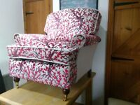 Newley reupholstered Duresta Ruskin armchair and foot stool