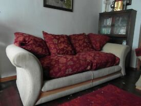 3 seater sofa, red and cream