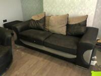 3 seater sofa, swivel chair and footstool