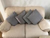Cream Leather Sofas, 3 & 2 seater
