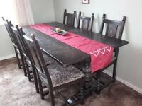 Old charm large table and 6 chairs