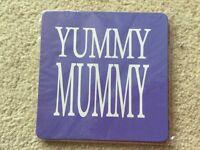 ' Yummy Mummy ' purple coffee tea drinks coaster mat New