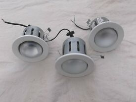 White Inset Ceiling Lights, set of 3.