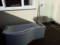 pea shaped bath plus matching shower screen and shower mixer taps....