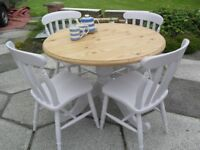 Shabby Chic Solid Pine Farmhouse Country Round Table and 4 Chairs In Farrow & Ball Calluna No 270
