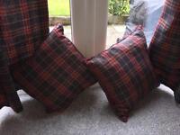 Tartan curtains and cushions